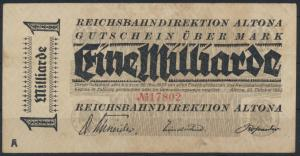 Reichsbahndirektion Altona 1 Milliarde Mark 1923 VF