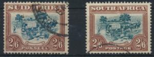 Briefmarken Südafrika 37-38 gest. Freimarken Landesmotive Ochsenwagen Kat. 70,00