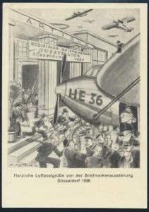 Deutsches Reich Privatganzsache PP 140 C 1 Düsseldorf Luftpost Philatelie SST 36