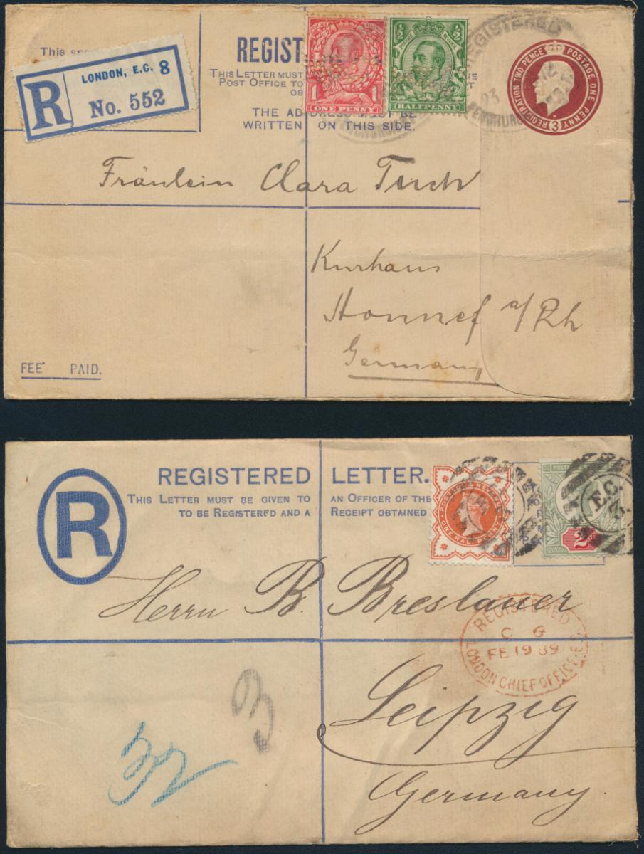 Großbritannien 2 Ganzsachen Umschläge Queen Victoria + King Georg + ZuF 0