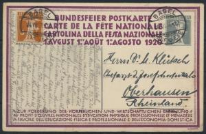 Schweiz Ganzsache P 61 04 + ZuF 5 Pfg. Tell Käser Basel Oberhausen 24.7.1920