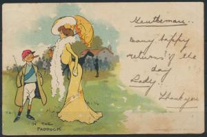 Ansichtskarte Jugendstil Art Nouveau Künstler sign. T.B. Frauen Pferde