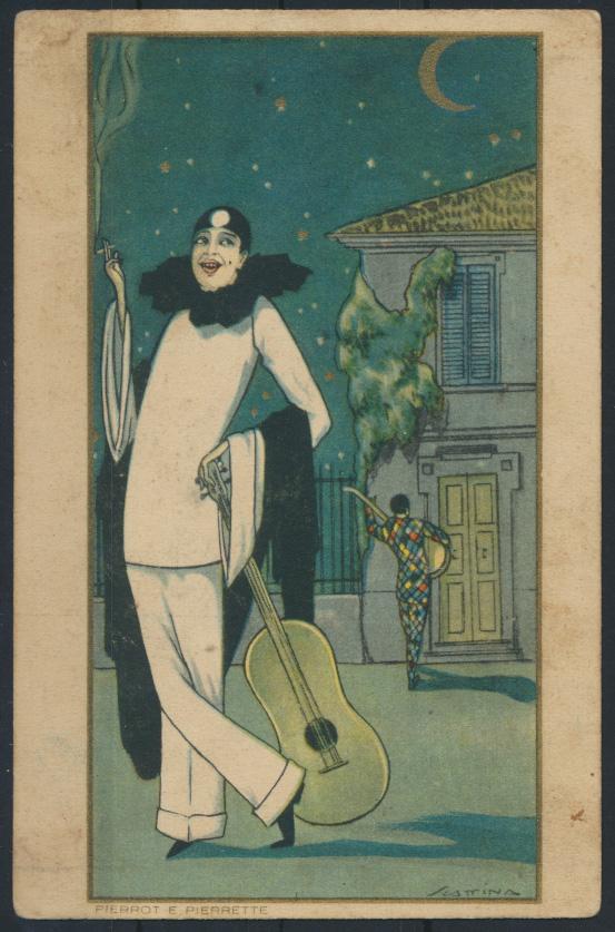 Ansichtskarte Jugendstil Art Nouveau Künstler Pierrot e Pierrette  0