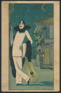 Ansichtskarte Jugendstil Art Nouveau Künstler Pierrot e Pierrette