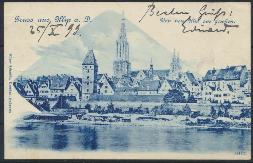 Ansichtskarte Ulm Donau 1899 nach Venlo Niederlande 0
