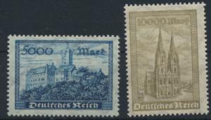 Deutsches Reich 261-262 Wartburg und Kölner Dom ungebraucht 1923