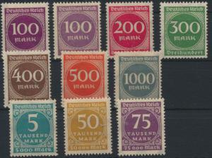 Deutsches Reich ex 268-276 Ziffern im Kreis ungebraucht 1923