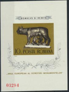 Rumänien Block 122 Denkmalschutzjahr postfrisch 1975 Kapitolinische Wölfin