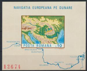 Rumänien Block 147** - Europäische Donaukommission Landkarte Schiffahrt
