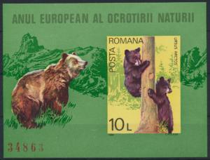 Rumänien Block 168 postfrisch Europäisches Naturschutzjahr Tiere Braunbären