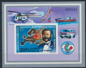 Ungarn Block 149 B** - Rotes Kreuz Henri Dunant Landkarte