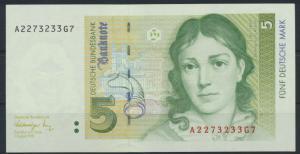 Geldschein Banknote Deutschland BRD 5 Mark Ro296a 1991