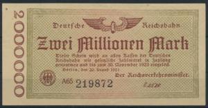 Deutsche Reichsbahn 2 Millionen Mark 30.10.1923