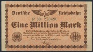 Geldschein Banknote Deutsche Reichsbahn 1 Million Mark 31.10.1923 II.