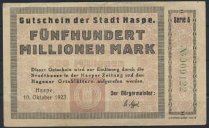 Gutschein Notgeld 500 Millionen Mark Stadt Haspe 1923 gebraucht