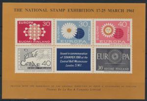 Großbritannien The National Stamp Exhibition Souvenir Sheet 1961 Finnland