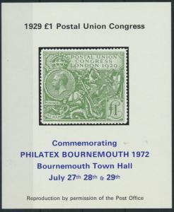 Großbritannien PHILATEX Bournemouth 1972 Postal Union Congress