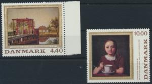 Dänemark 961-962 ** Gemälde 1989 kompletter Satz 961 mit Seitenrand