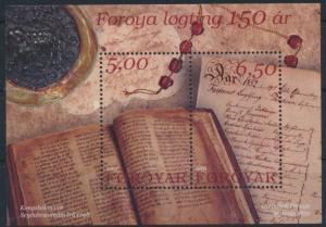 Färöer Block 13 ** 150. Jahrestag der Wiedereinführung des Lögting 2002