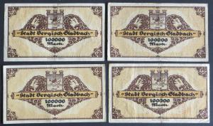 4x Geldschein Banknote Notgeld Bergisch Gladbach 100000 Mark 20.07.1923