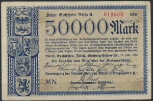 Geldschein Banknote Notgeld 50000 Mark Düren, Euskirchen, Jülich, Stolberg 1923