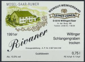 Weinettikett Weingut Zeimet - Conen Wiltingen Saar 1991er ungebraucht