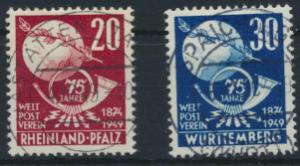 Rheinland-Pfalz 51-52  gestempelt  75 Jahre Weltpostverein