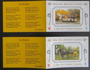 2 Gedenkkarten Königlich Bayerische Postkutscher Regensburg SST 1995