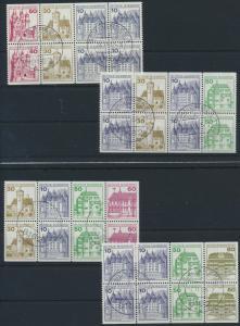 Bund Heftchenblätter H26-H29 Burgen und Schlösser gestempelt ohne Rand