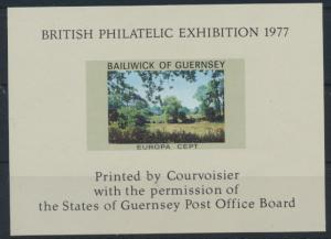 Vignette British Philatelic Exhibition 1977 Europa CEPT Guernsey Miniature Sheet