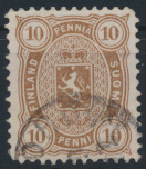 Finnland 15 B y b gestempelt - Freimarke 10 Penni Wappen