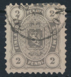 Finnland 12 A y b gestempelt - Freimarke 2 Penni Wappen