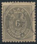 Island 7 B gestempelt - 6 Aurar Freimarke Ziffern mit Krone im Oval 1876