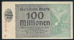 Banknote Notgeld Gutschein 100 Millionen Mark August Thyssen Hütte Hamborn ss