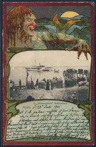 Ansichtskarte Seefahrt Schiff Marine Litho Jugendstil Art Nouveau D Hohenzollern