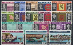 Guernsey 8-23 postfrisch - incl. 18 I/II  Freimarken Ansichten und Wappen