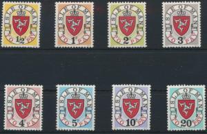 Isle of Man  P 1-8 postfrisch - Portomarken Landeswappen 1973