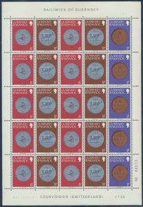 Zusammendruckbogen Guernsey ex 175-180 ** Münzen 1979