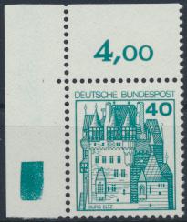 Bund Bogenrand Eckrand oben links 915 40 Pfennig Burgen und Schlösser