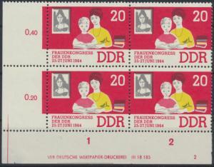 DDR 1030 Frau + Kind 20 Pfennig Viererblock Bogenrand Druckvermerk postfrisch