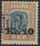 Island 141 gestempelt  Freimarke Zwei Könige m. Aufdruck Tollur-Stempel