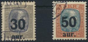 Island 112-113 gestempelt  Freimarken mit lokalem Aufdruck