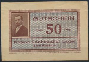 Geldschein Gutschein Lockstedter Lager Kasino Emil Rachow 50 Pfennig