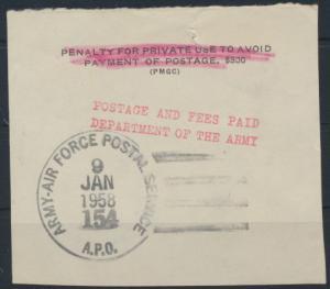 Air Force Postal Service Postage Fees Paid 9.1.1958 Briefstück