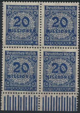 Deutsches Reich 319 20 Millionen Mark Viererblock 1923 mit Unterrand 0