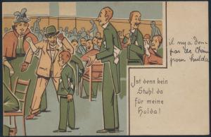Ansichtskarte Jugendstil Art Nouveau Karikatur Restaurant Beaulieu