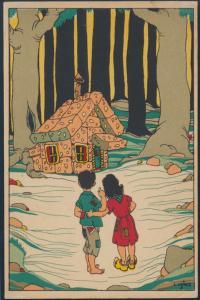 Ansichtskarte Jugendstil Hänsel und Gretel vor dem Pfefferkuchenhaus im Wald