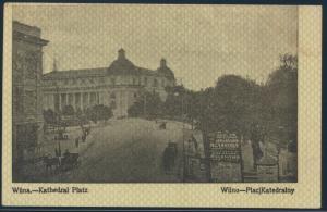 Ansichtskarte Feldpost nach Breslau 1915 Wilna Kathedral Platz Pferdekutschen