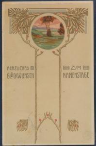 Ansichtskarte Jugendstil Art Nouveau Künstler n. Köln 1903 Glückwunsch Namenstag