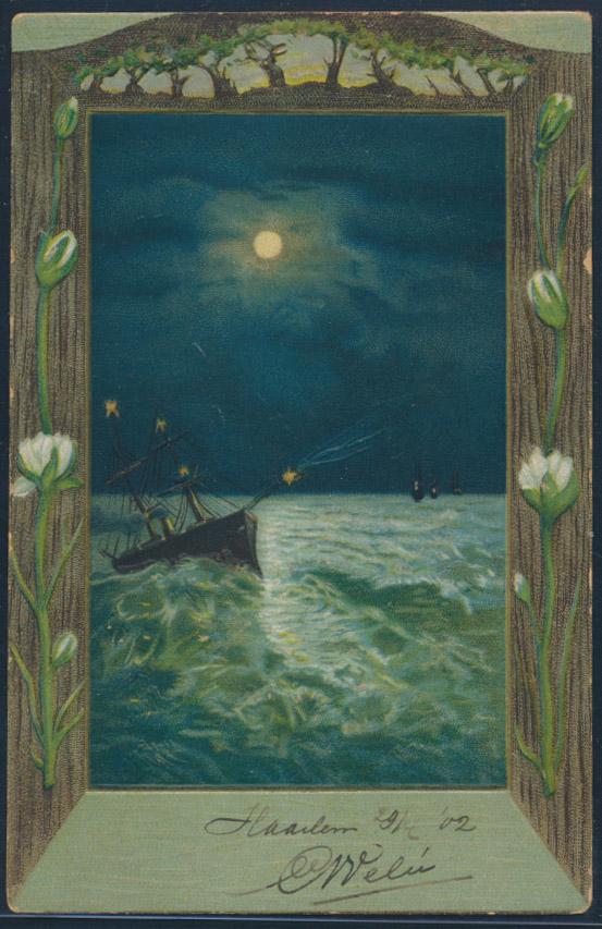 Ansichtskarte Künstler nach Haarlem Niederlande 1902 Schiff in stürmischer See 0